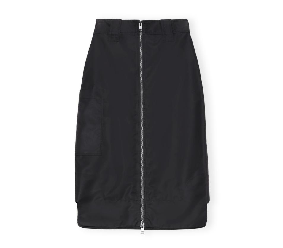 GANNI Zip Up Cargo Skirt in Black Recycled Nylon