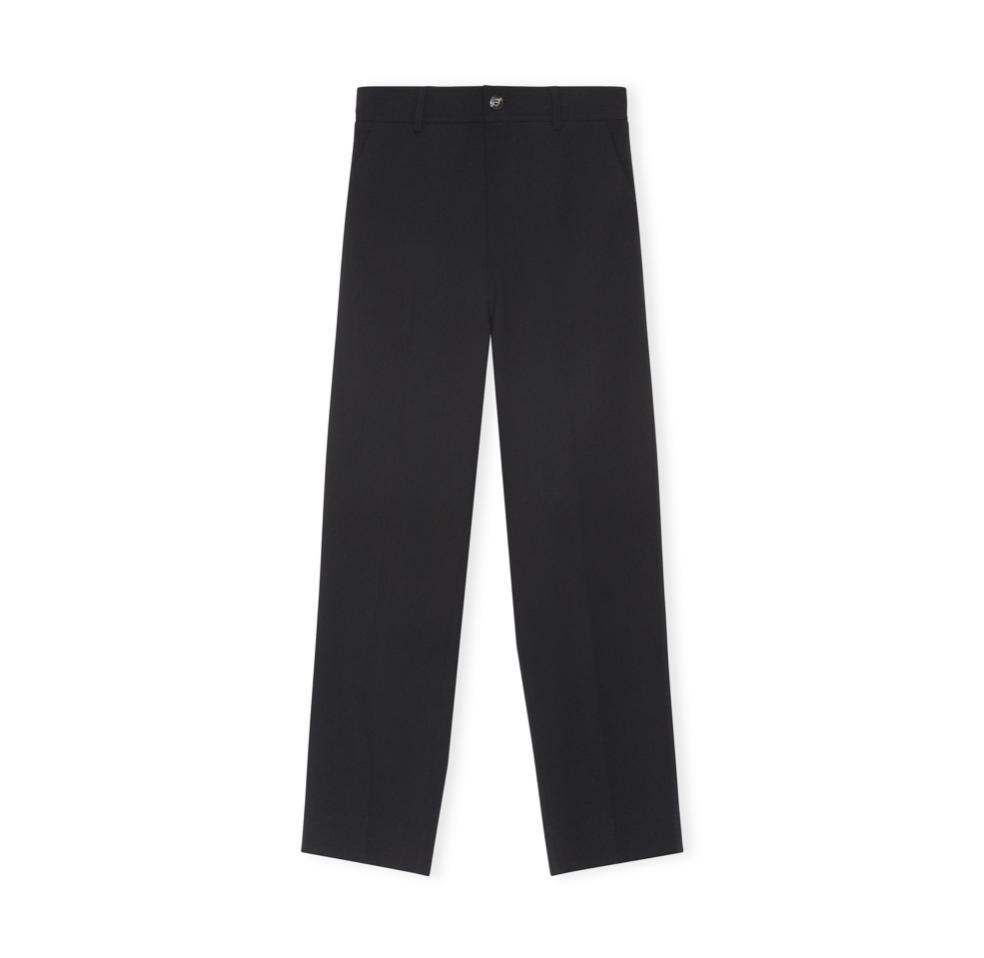 GANNI GANNI Cropped Crepe Pants in Black