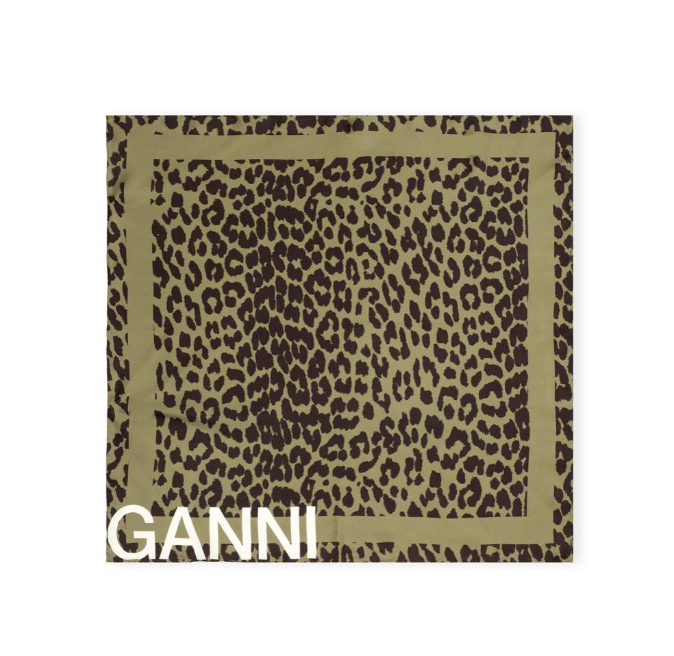 GANNI GANNI Silk Twill Scarf in Olive Leopard