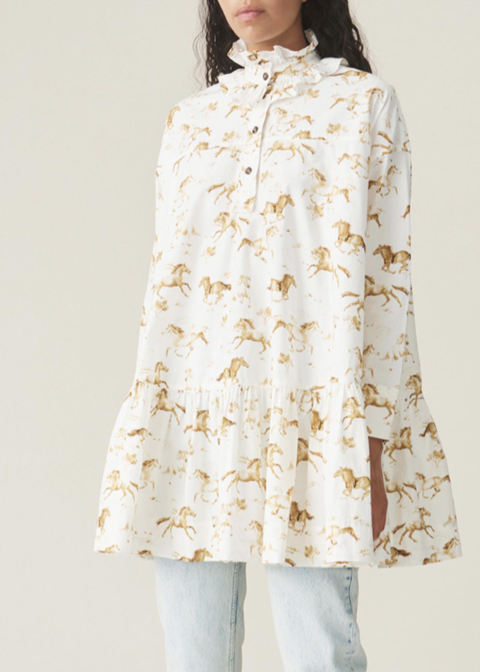 GANNI Oversized Dress with Horses Print