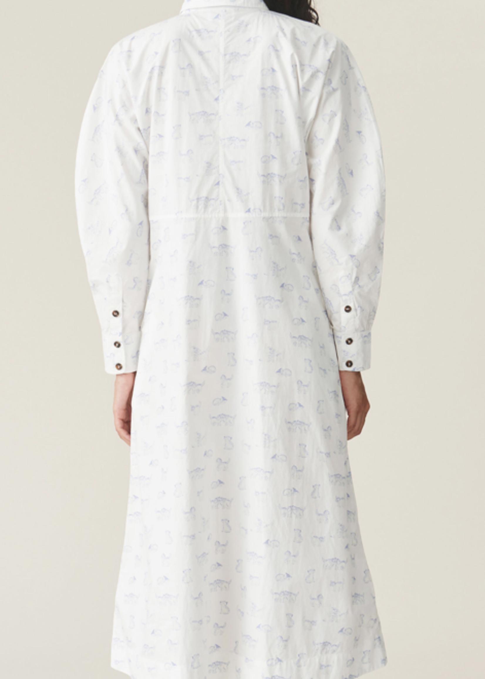 GANNI GANNI Shirt Dress with Kitten Print