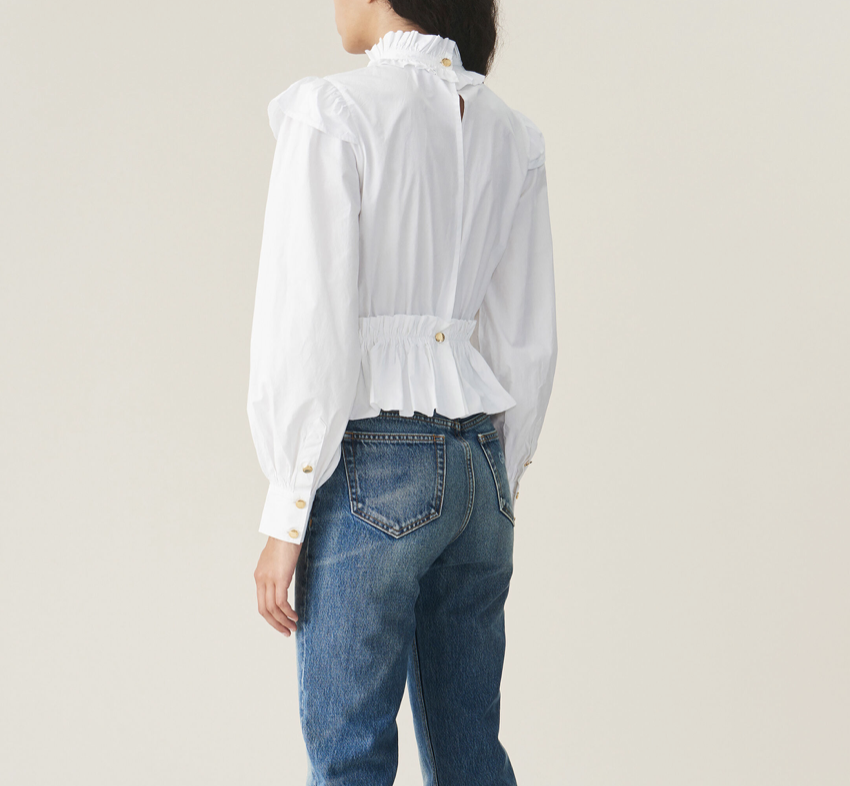 GANNI Cropped Gathered Poplin Blouse