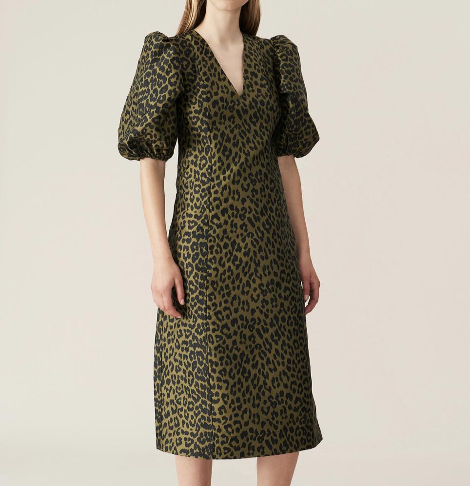 GANNI Balloon Sleeve Dress in Olive Leopard
