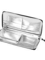 COMME des GARÇONS WALLET Comme des Garçons Large Black Zip Wallet with Silver Metallic Interior