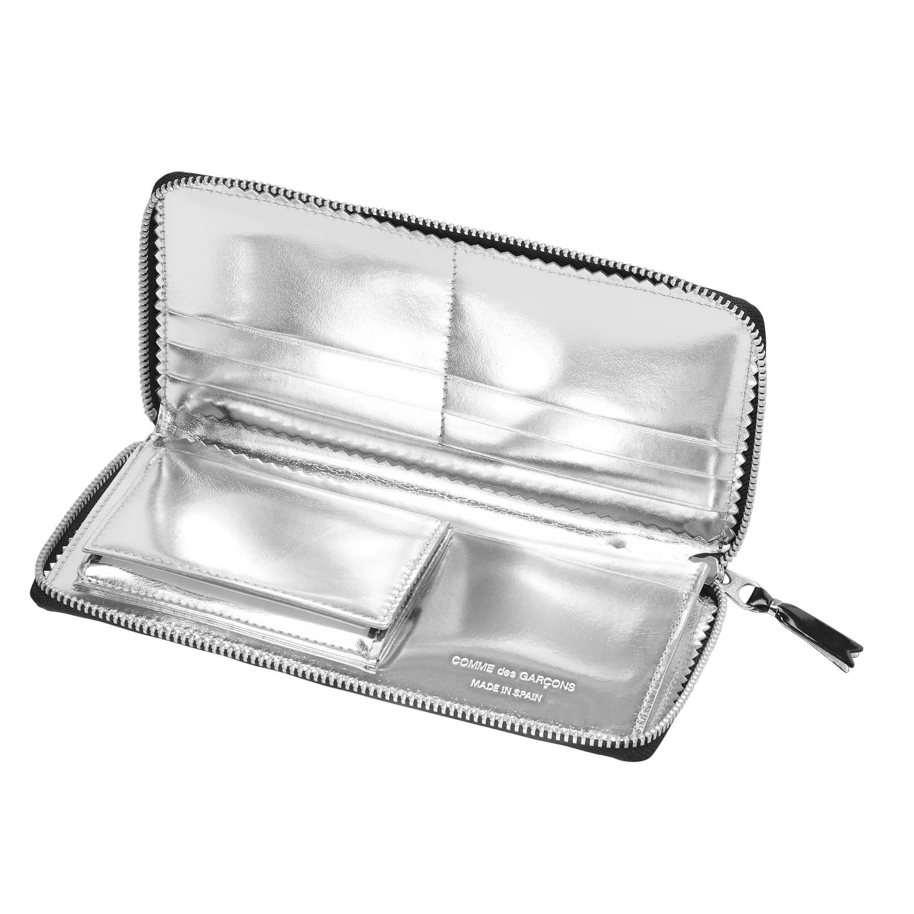 COMME des GARÇONS WALLET  Large Black Zip Wallet with Silver Metallic Interior