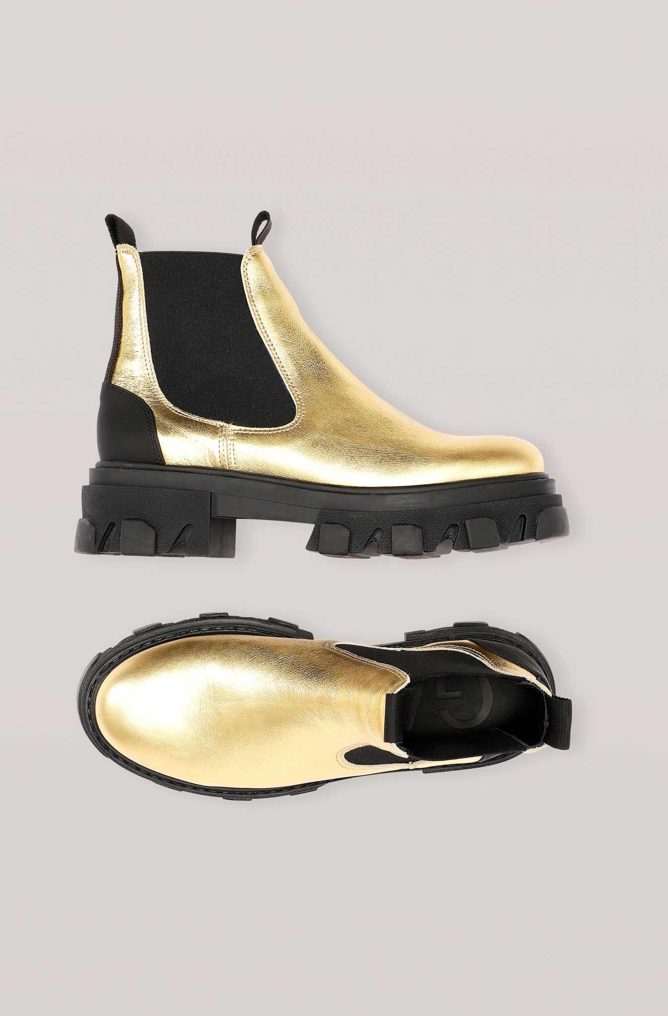 GANNI Lug Sole Low Chelsea Boot in Gold
