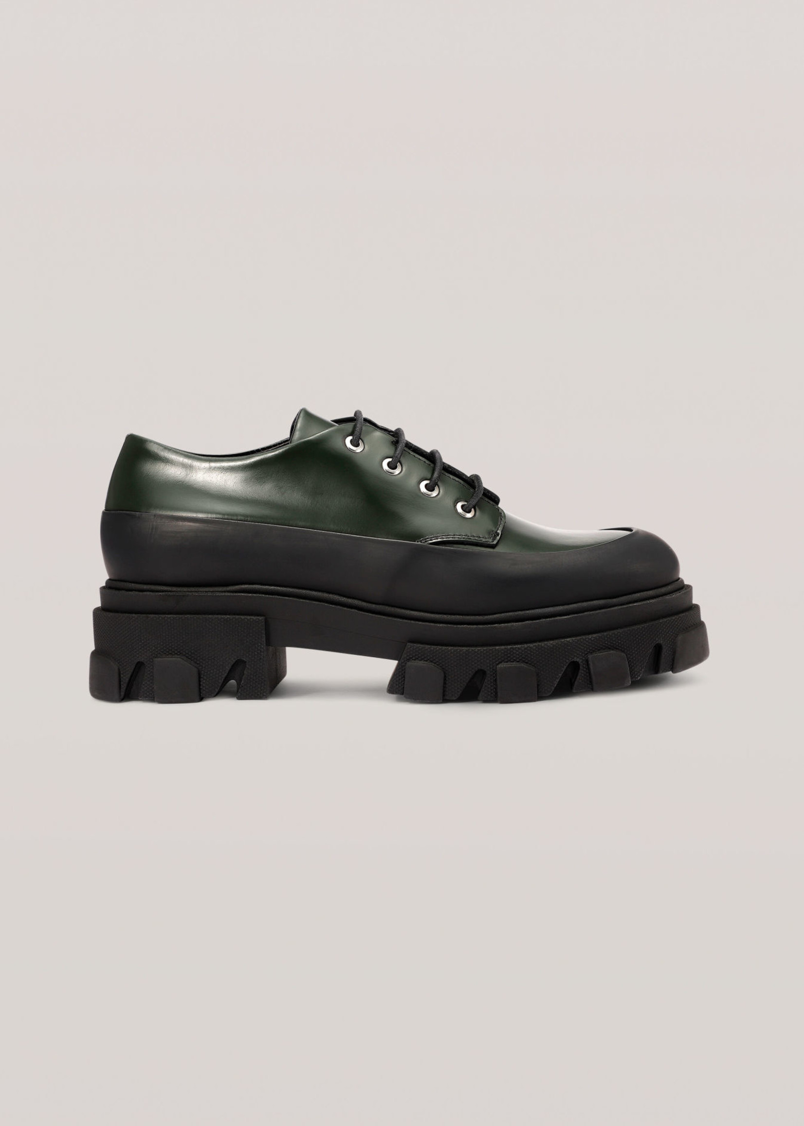 GANNI Lug Sole Oxford in Dark Green