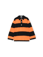 GANNI GANNI Cashmere Stripe Polo in Orange and Black