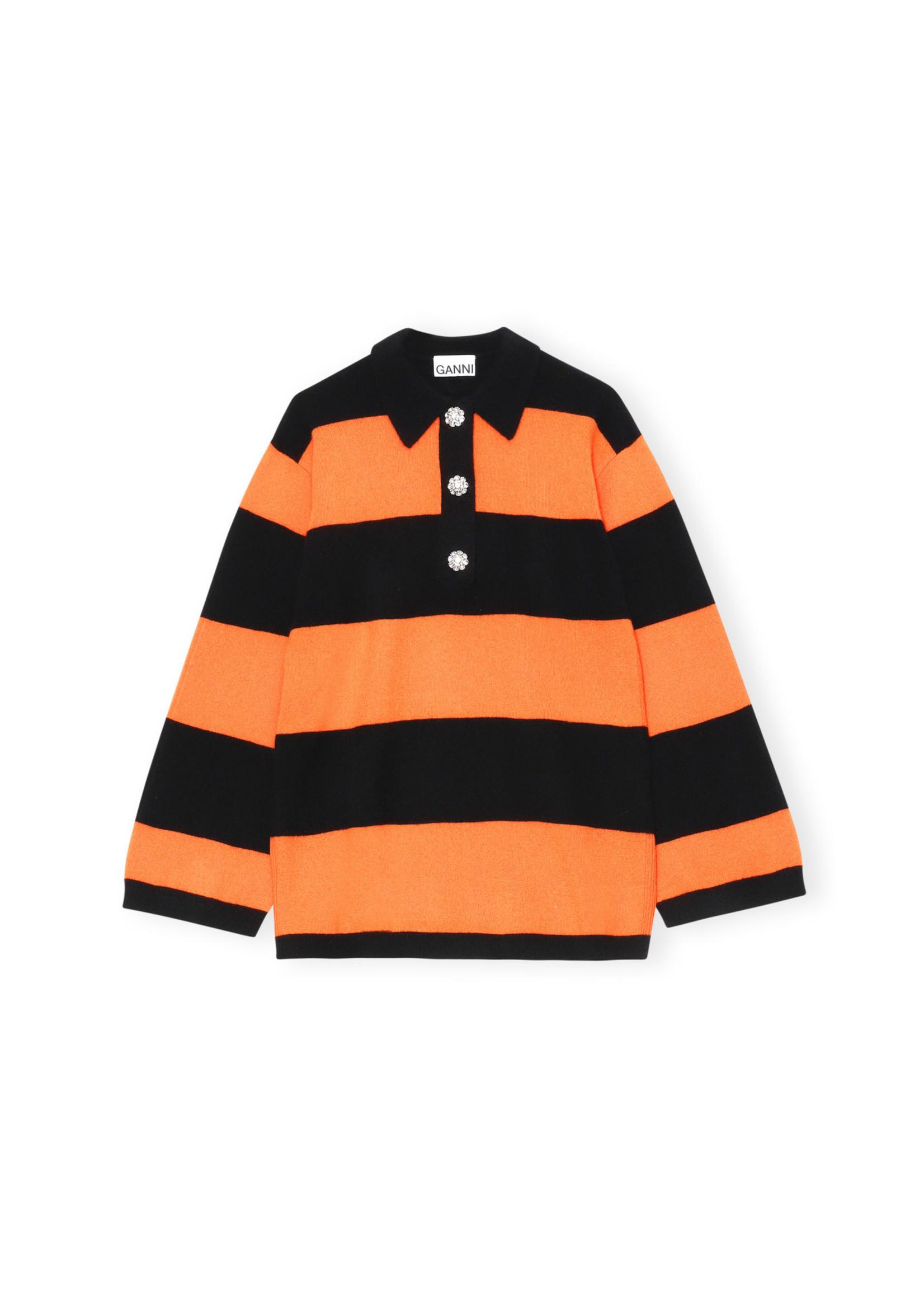 GANNI Cashmere Stripe Polo in Orange and Black