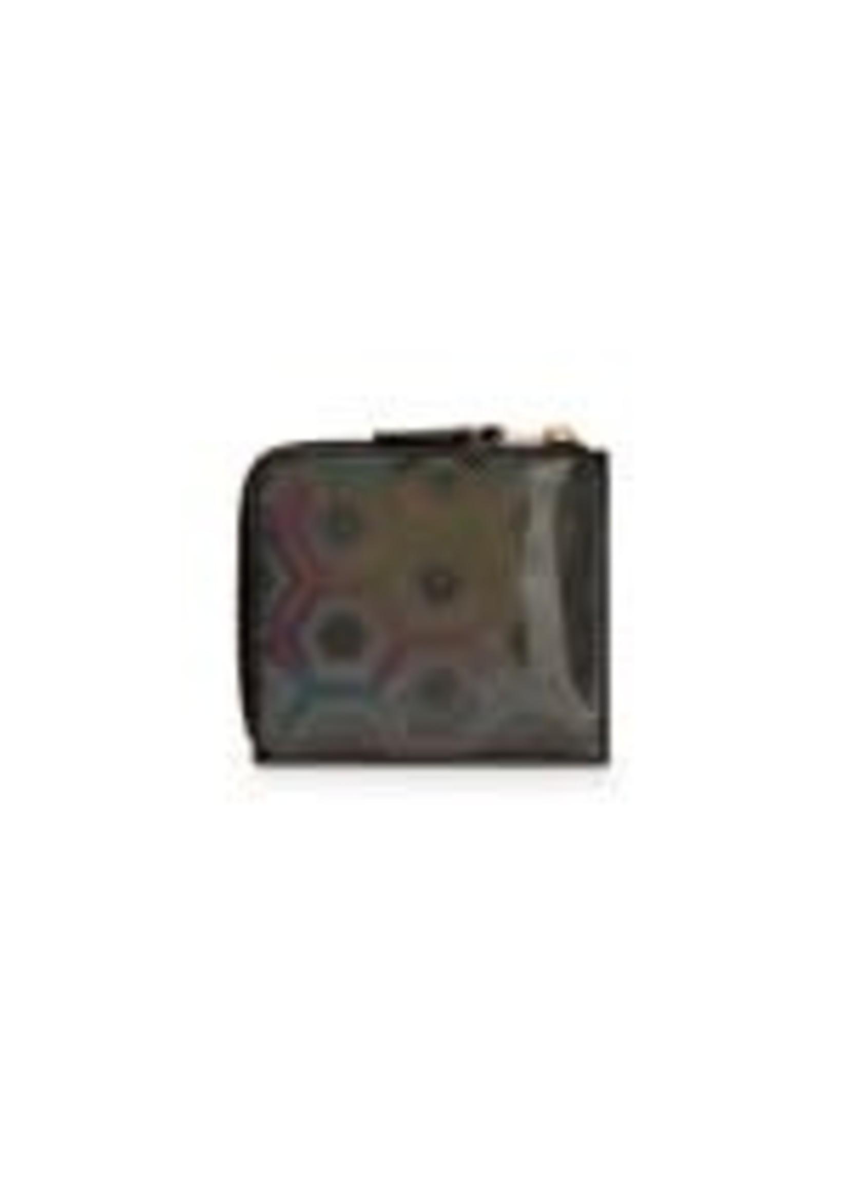 COMME des GARÇONS WALLET 1/2 zip wallet in Black Rainbow Hologram