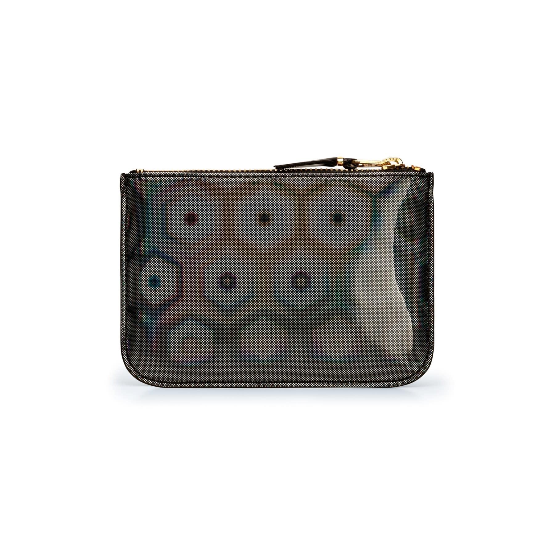 COMME des GARÇONS WALLET small zip pouch in Black Rainbow Hologram