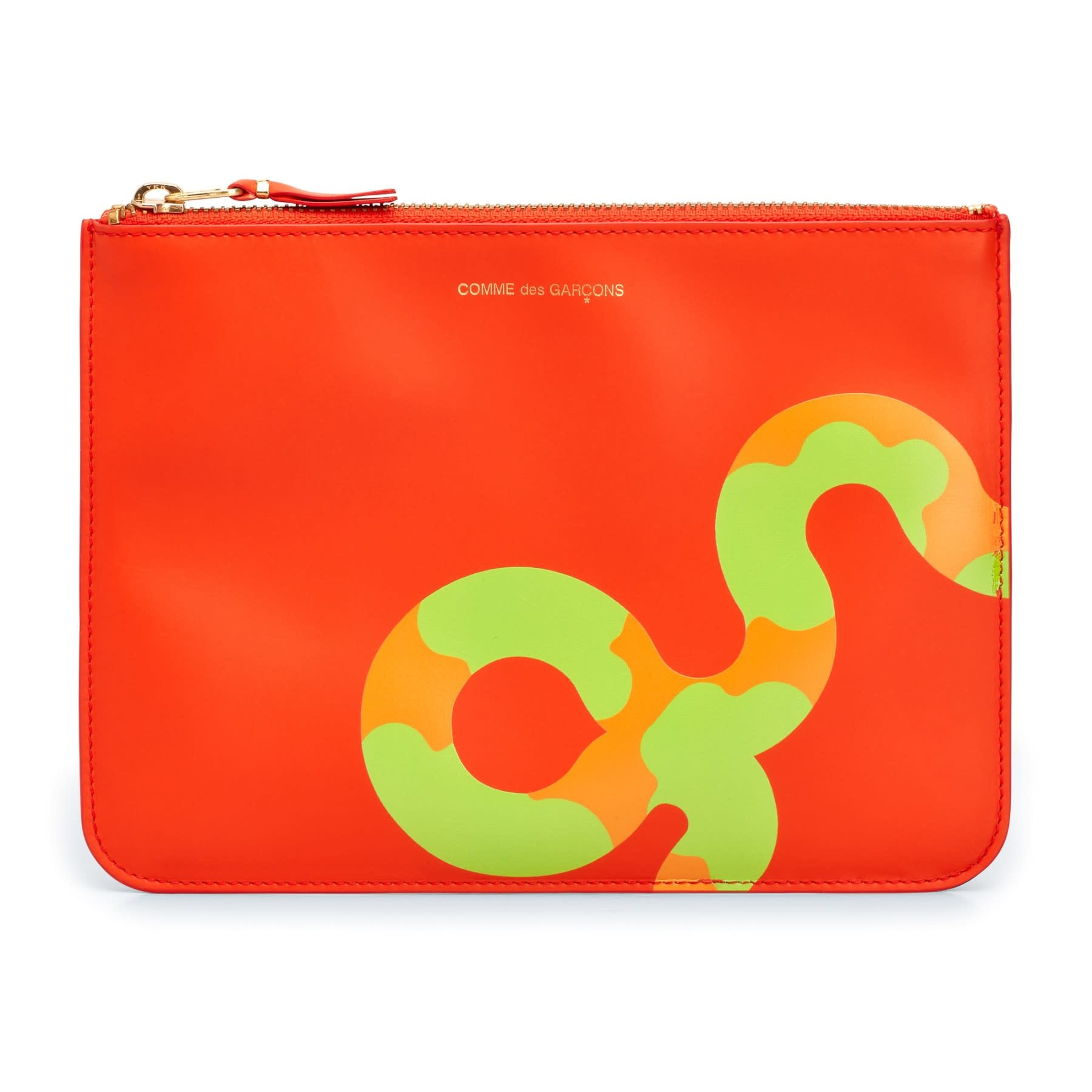 COMME des GARÇONS WALLET Large zip pouch in Orange Ruby Eyed Snake