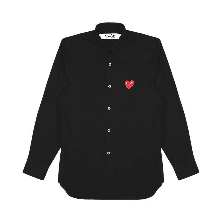 COMME des GARÇONS PLAY Black Dress Shirt with Red Heart