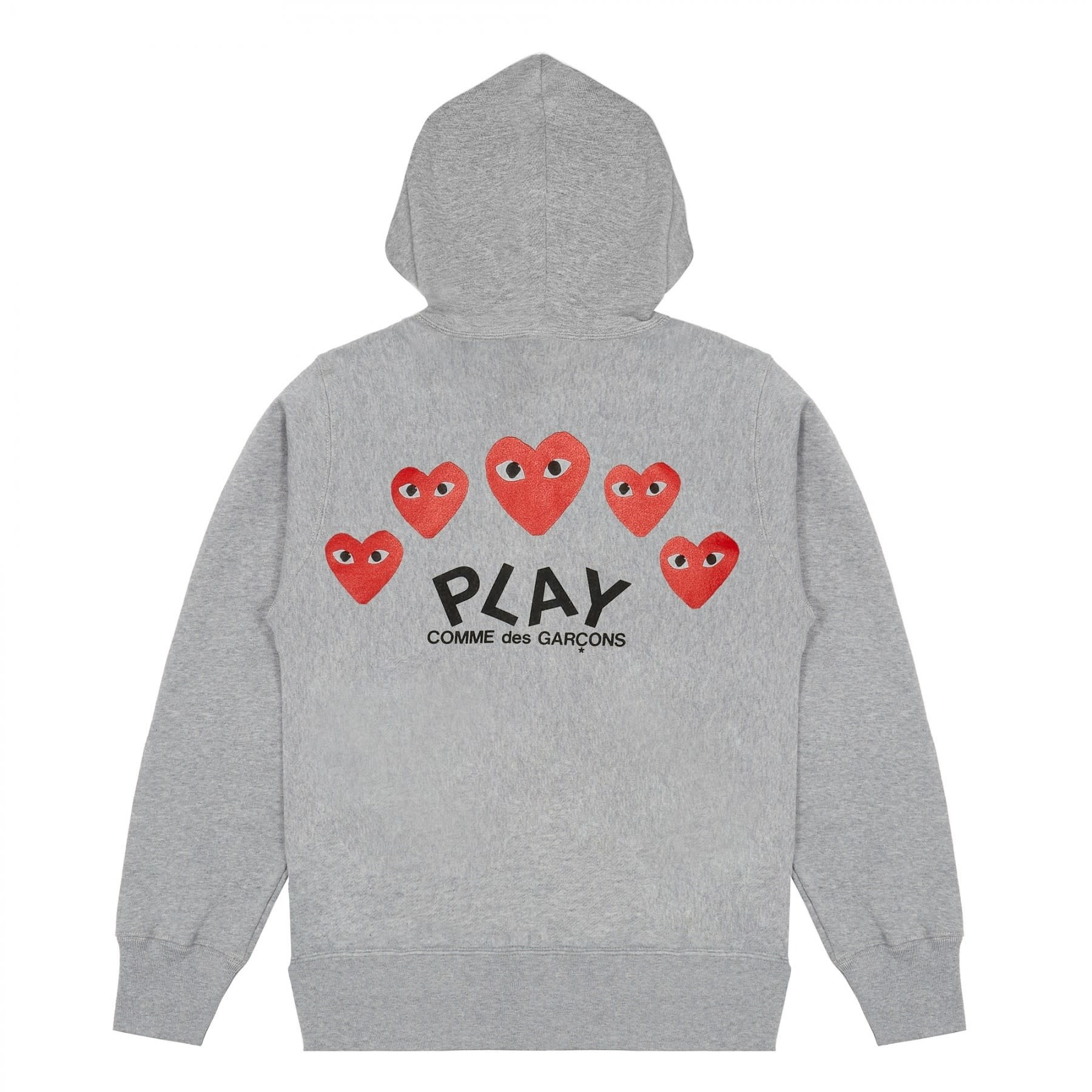 COMME des GARÇONS PLAY Grey Zip Hoodie with Back Print