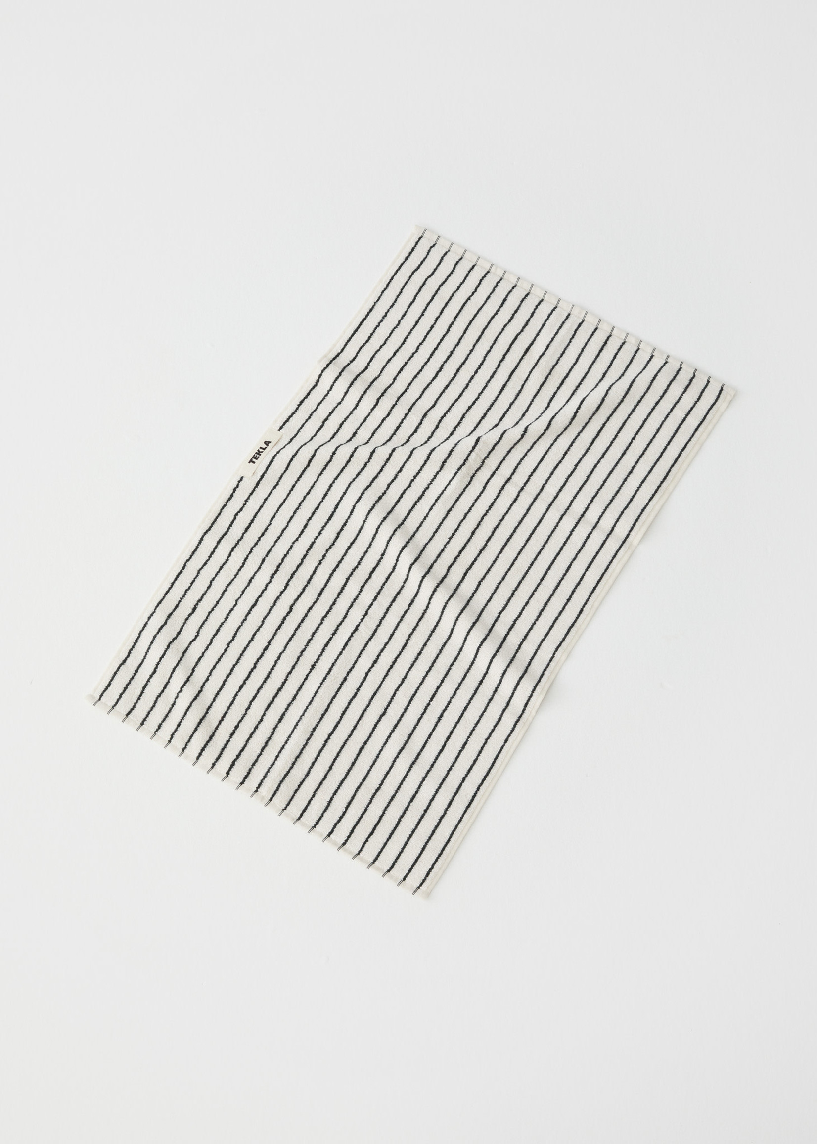 TEKLA Organic Hand Towel in Dark Green Stripe