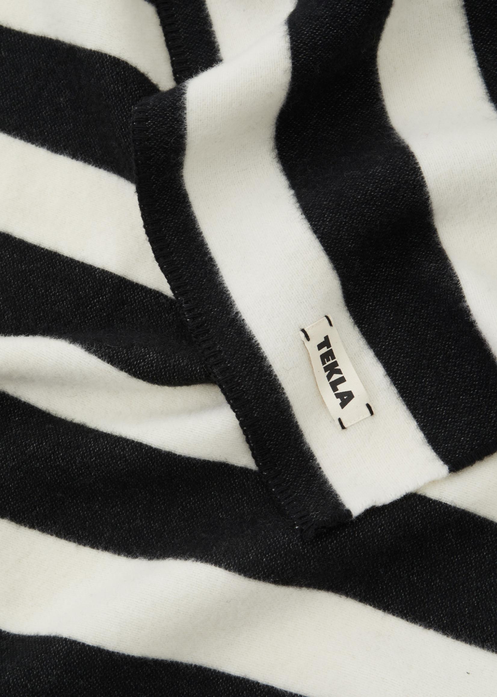 TEKLA Wool Throw Blanket in Black and White Stripe
