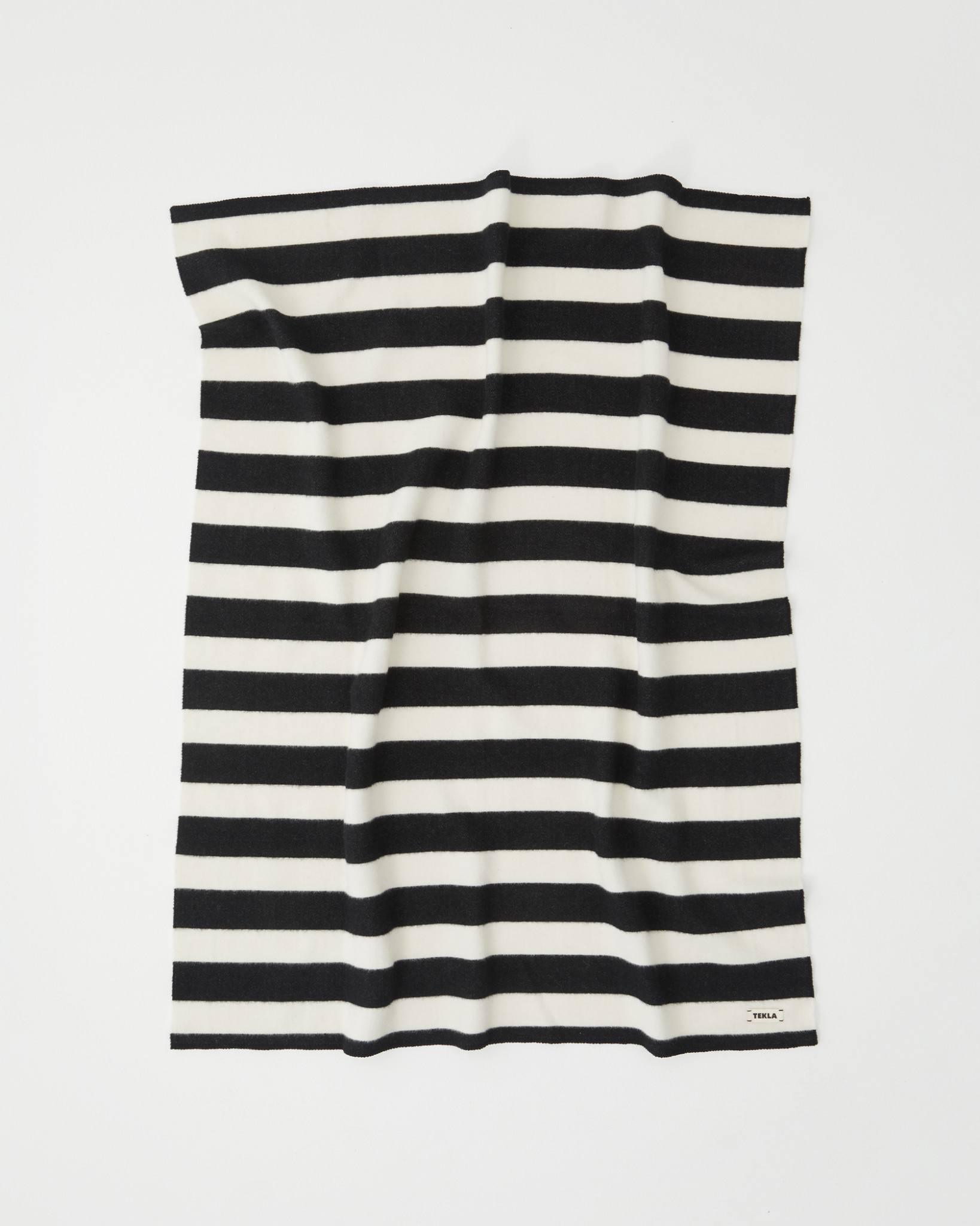 TEKLA Wool Throw Blanket in Black and White Stripe