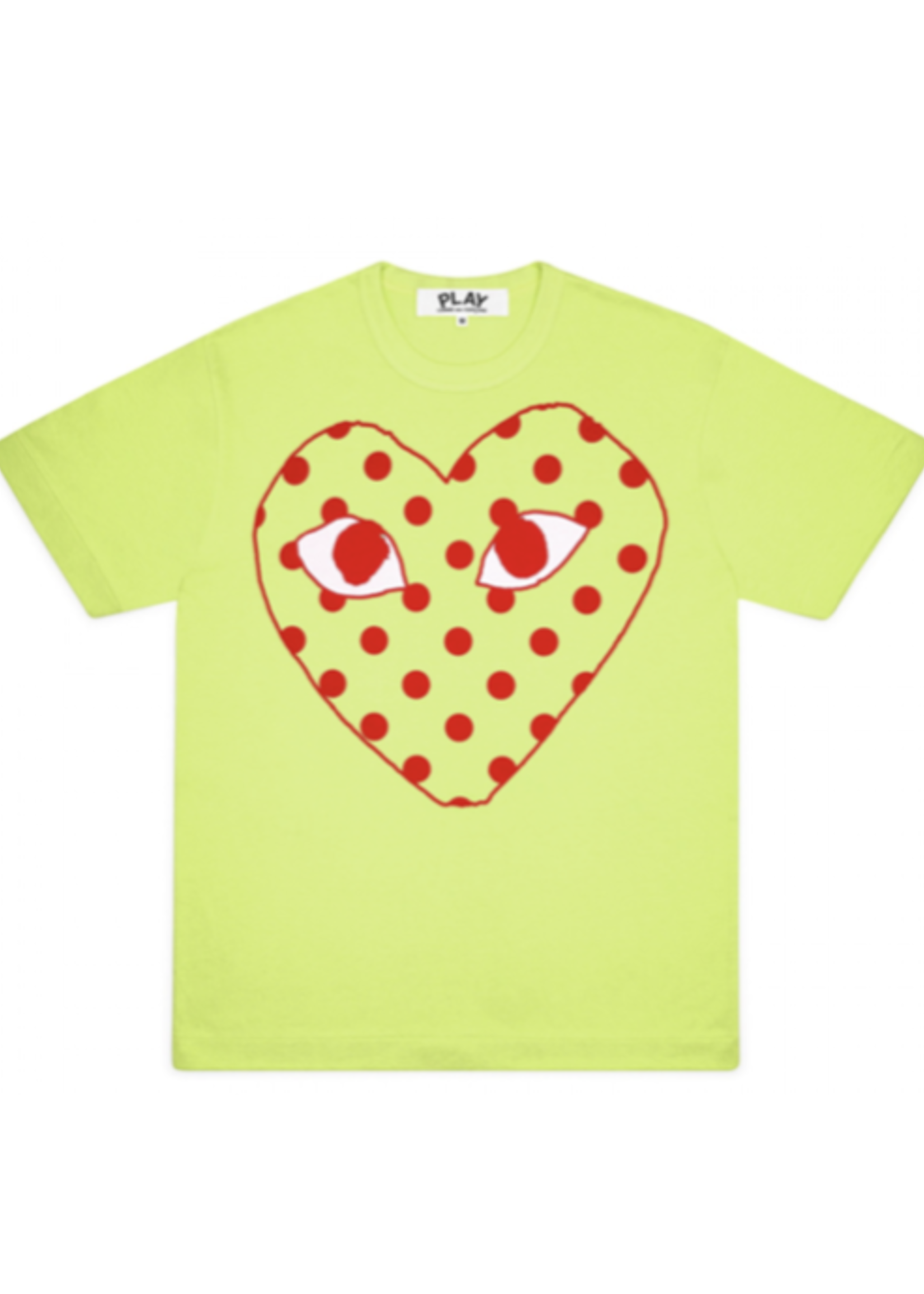COMME des GARÇONS PLAY Comme des Garçons PLAY Womens Neon Green Polka Dot Heart Tee