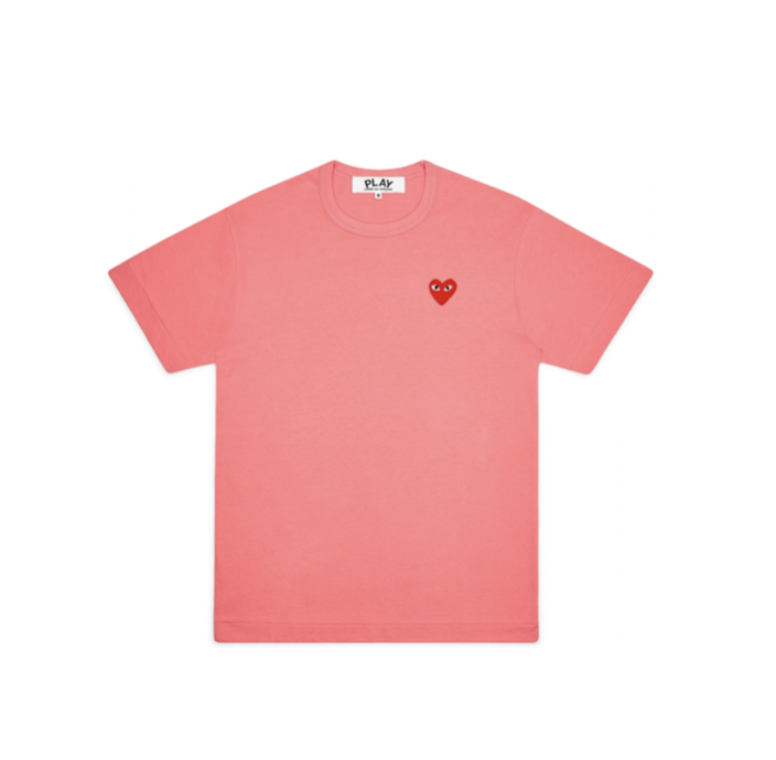 COMME des GARÇONS PLAY WOMEN'S PINK TEE WITH RED HEART