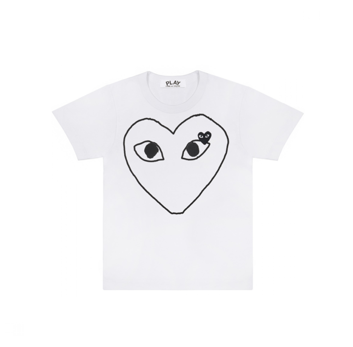 COMME des GARÇONS PLAY Womens Outline Heart Tee in White