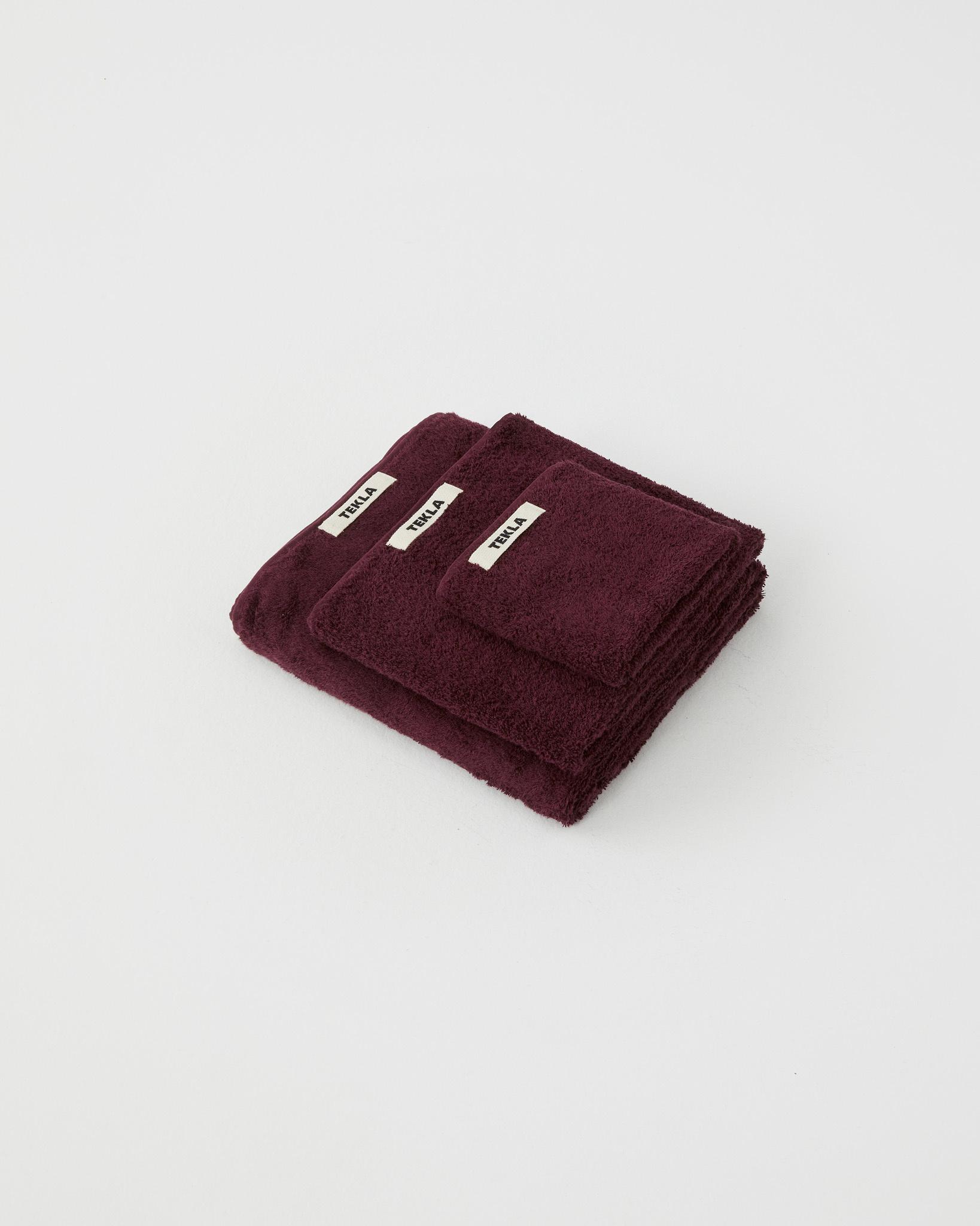 TEKLA Organic Bath Towel in Plum Red