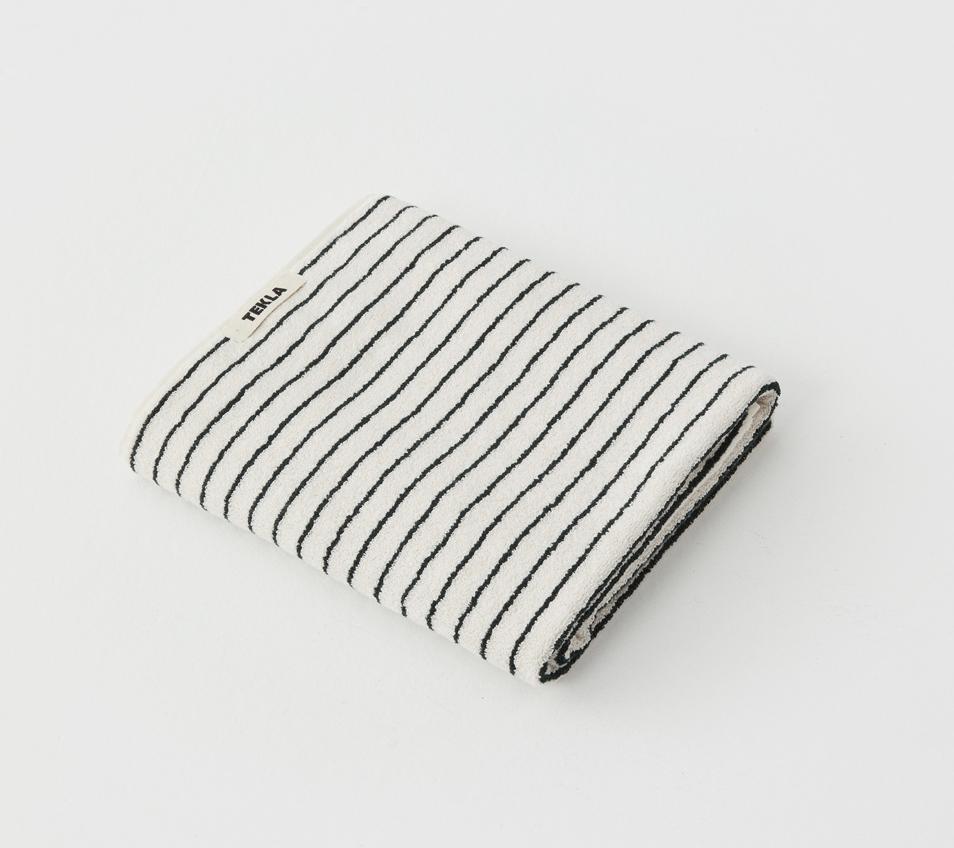 TEKLA Organic Bath Towel in Dark Green Stripe