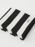 TEKLA TEKLA Wool Throw Blanket in Black and White Stripe