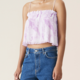 GANNI Pleated Strap Top in Orchid