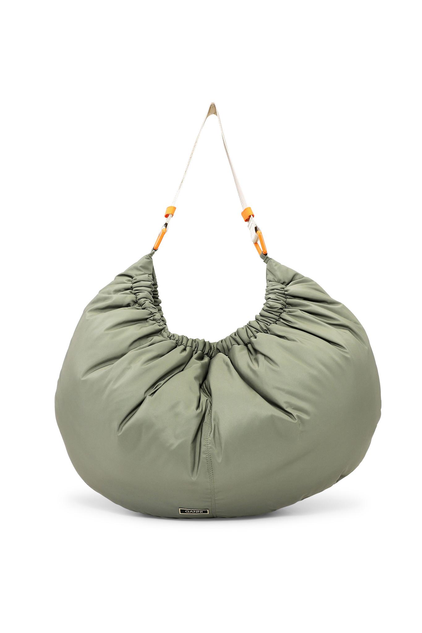 GANNI Recycled Nylon XXL Bag in Olive