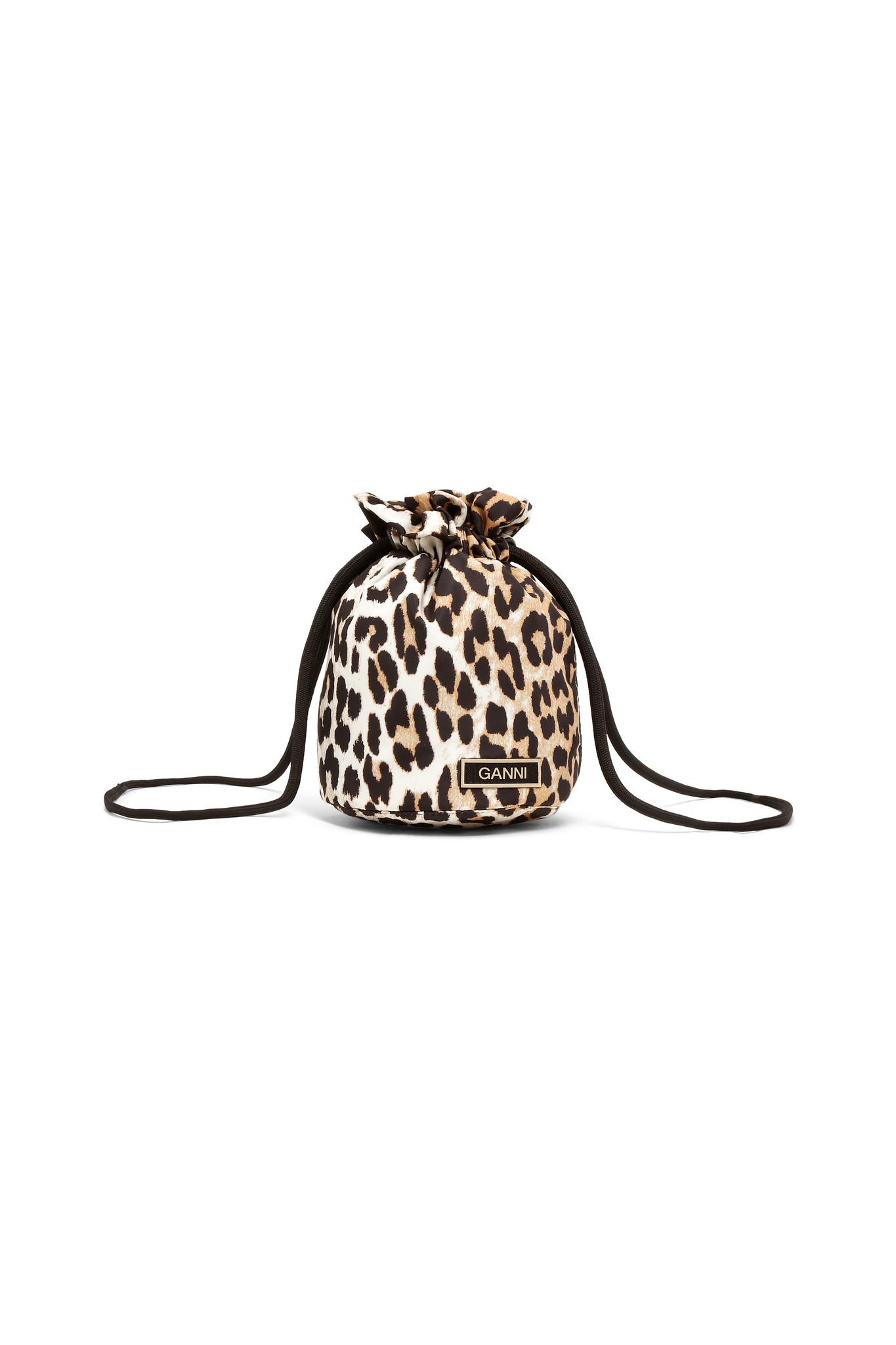 GANNI Recycled fabric Drawstring Purse in Leopard