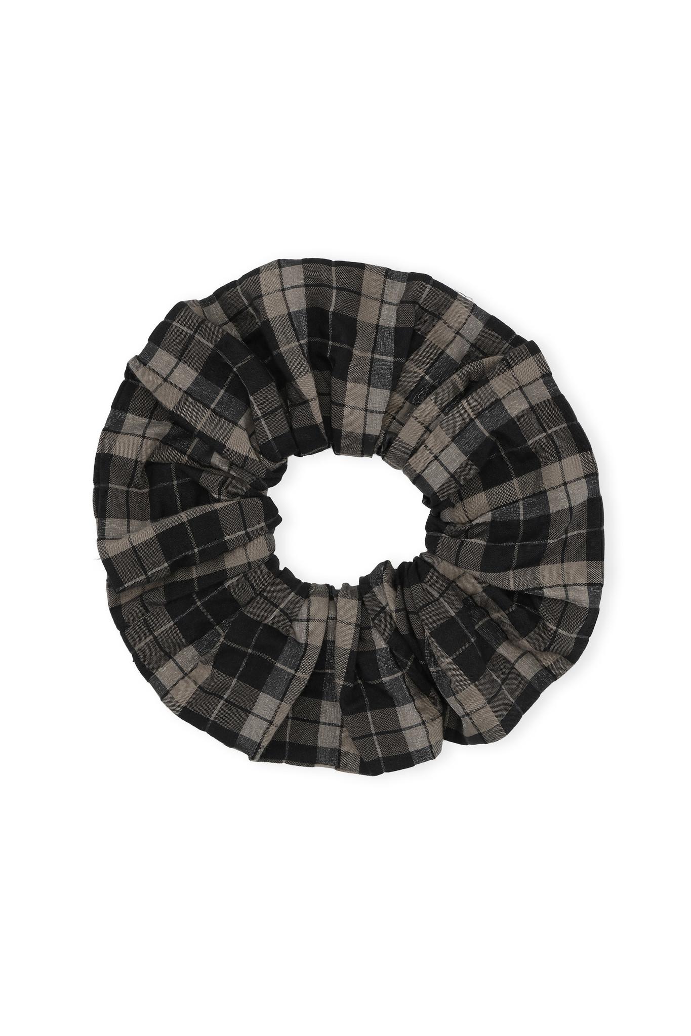 GANNI Seersucker Scrunchie in Fossil