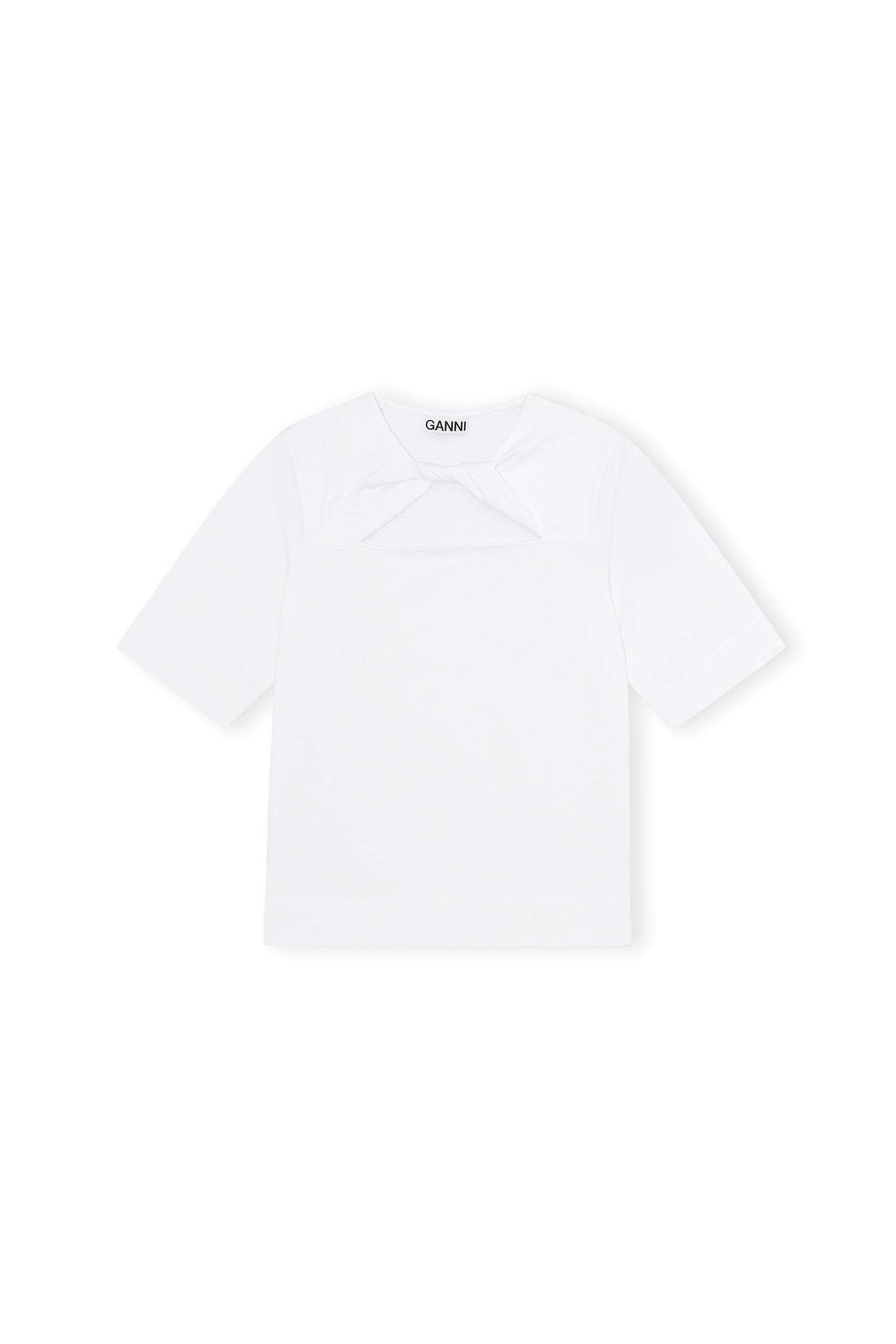 GANNI Front Twist T-shirt in White