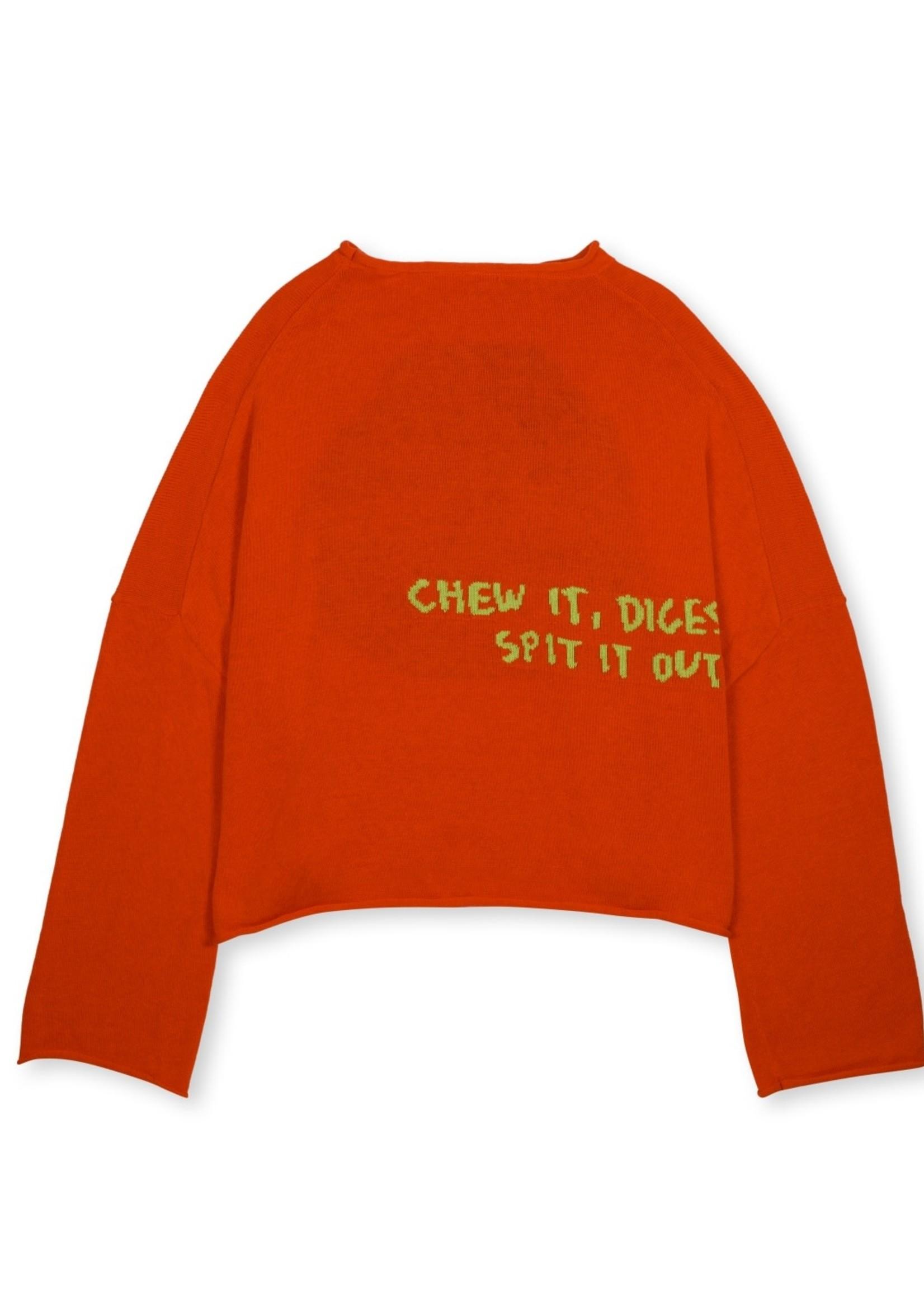 Brain Dead Spit it Cropped Boxy Sweater in Red