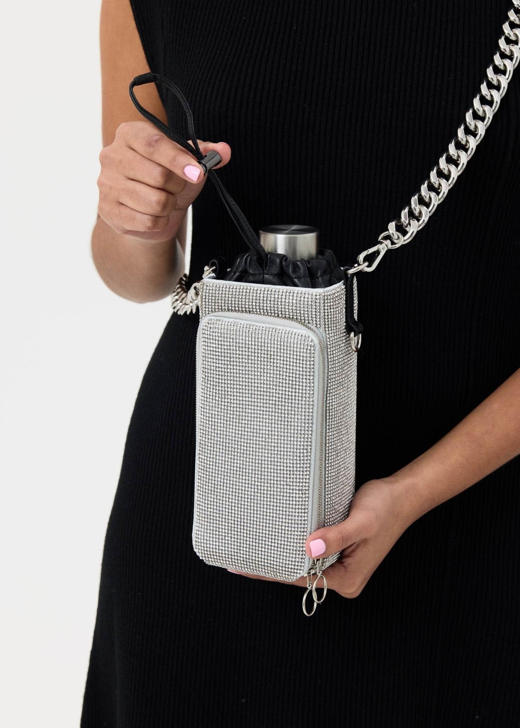 KARA White Crystal Mesh Water Bottle Bag
