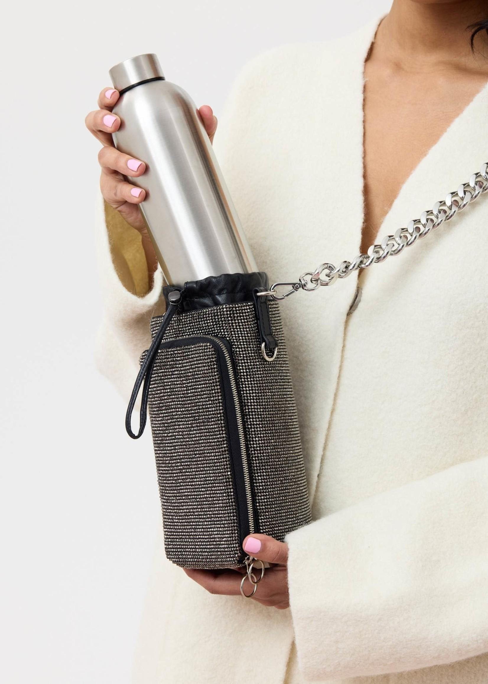 KARA Hematite Crystal Mesh Water Bottle Bag