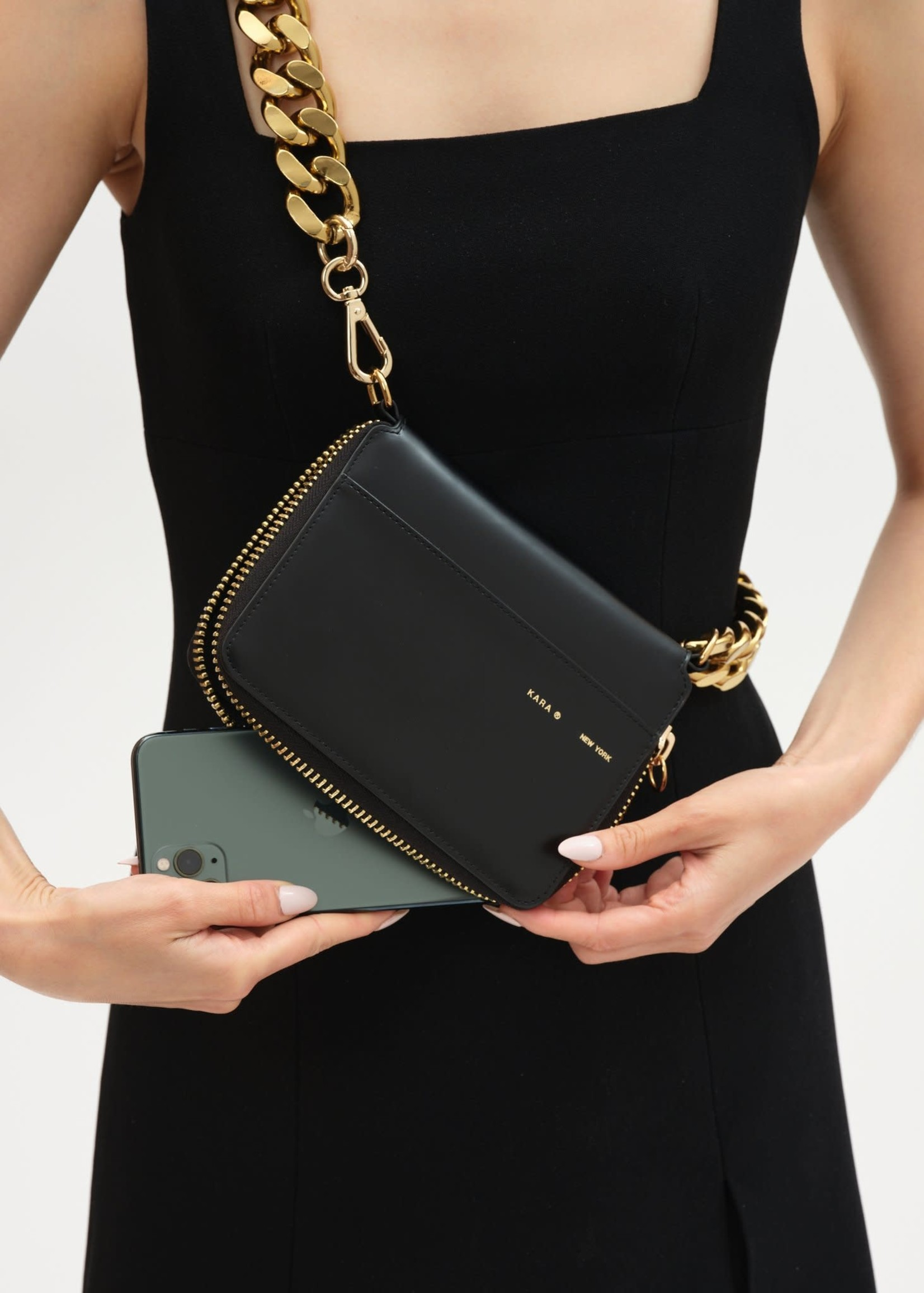 KARA Large Bike Wallet in Black with Gold Chain