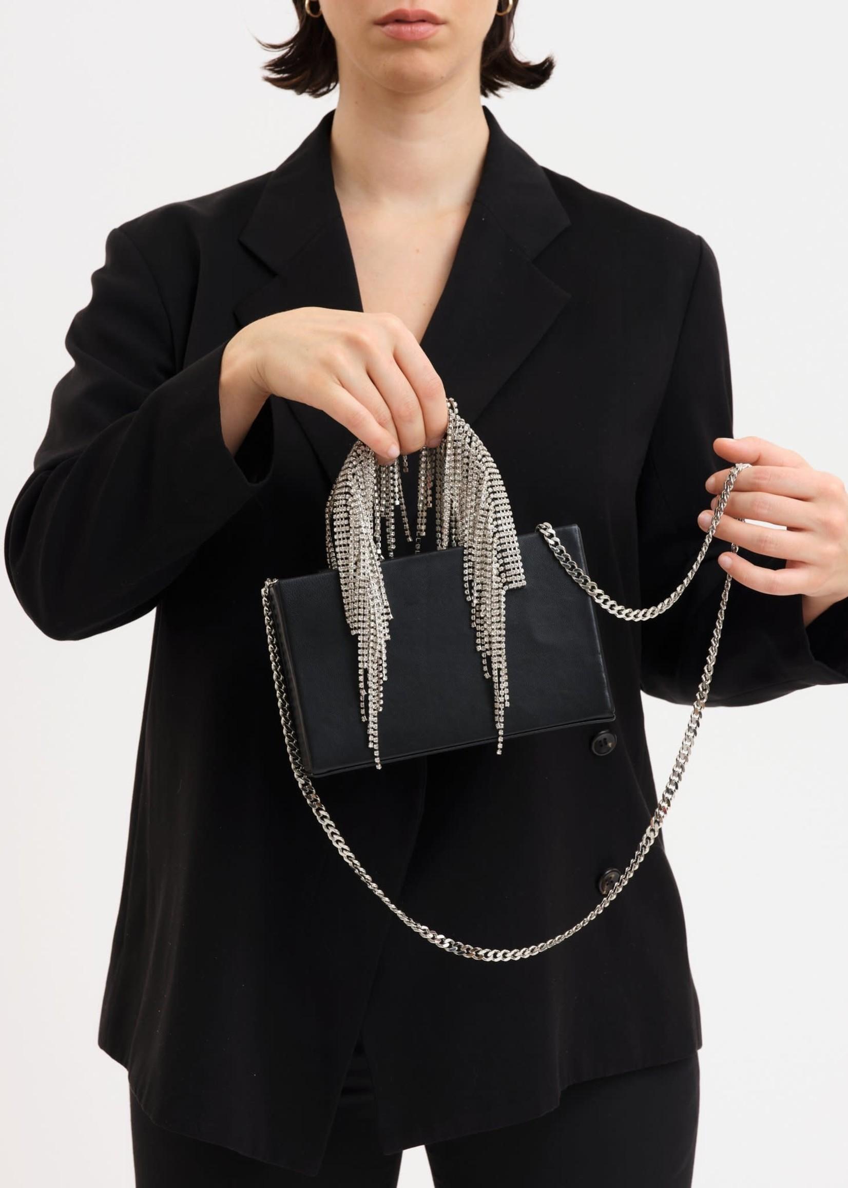 KARA Midi Crystal Fringe Tote in Black