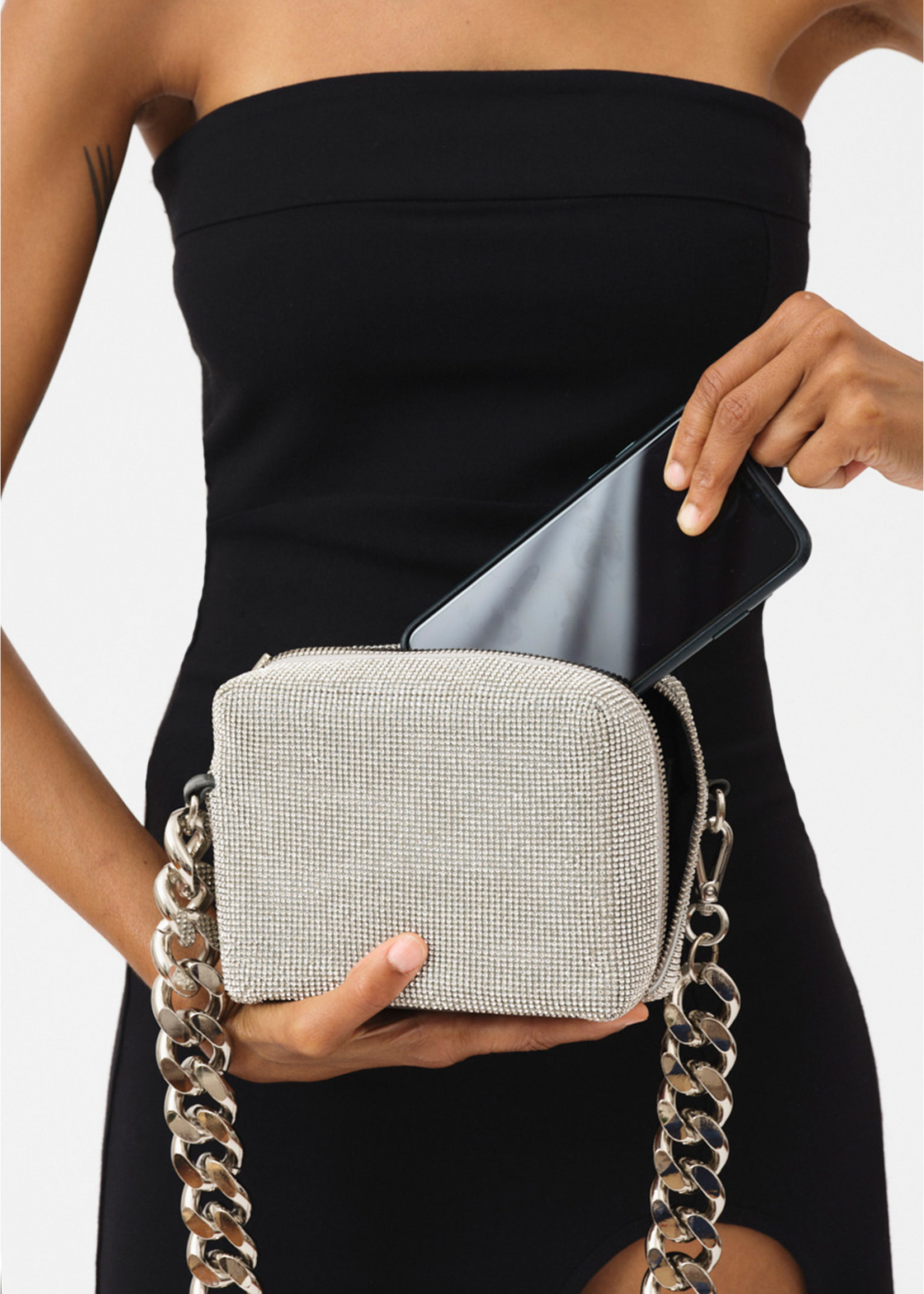 KARA KARA Crystal Mesh Camera Bag White Crystal