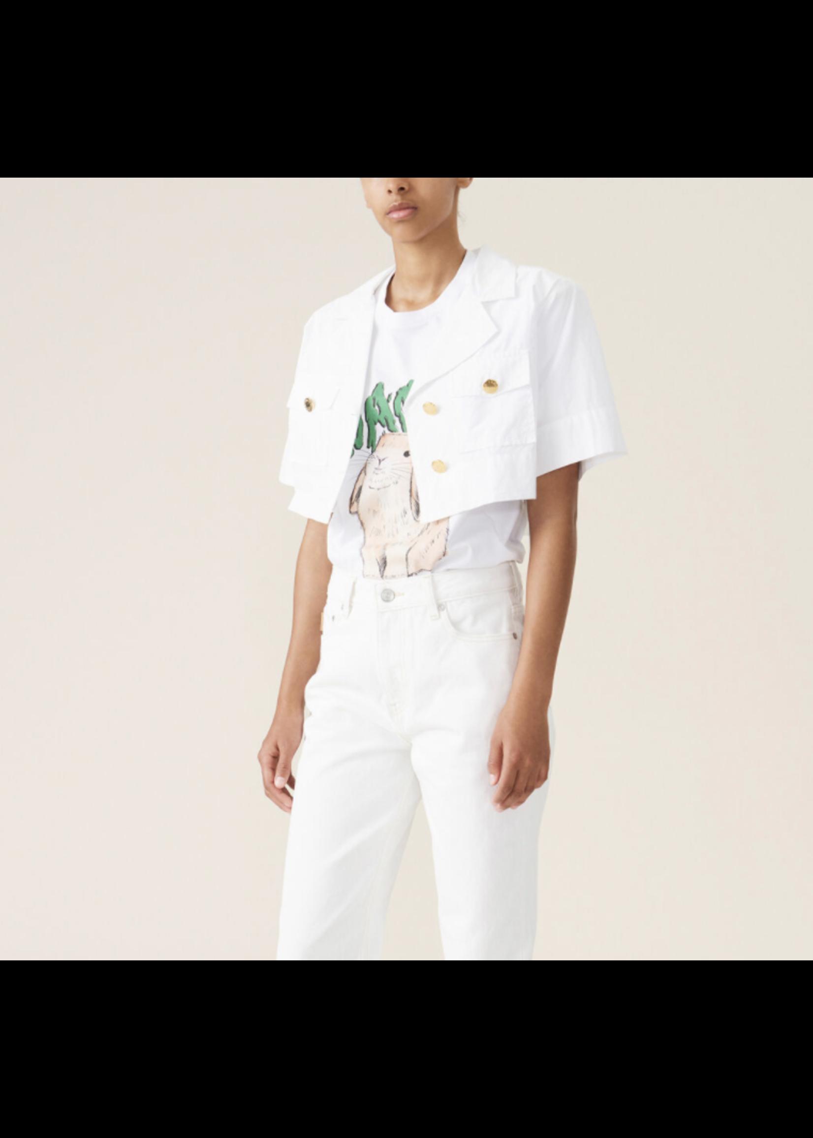 GANNI GANNI White Poplin Cropped Shirt