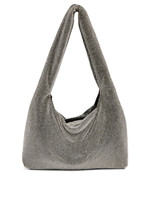 KARA KARA Crystal Mesh Armpit Bag in Hematite and White