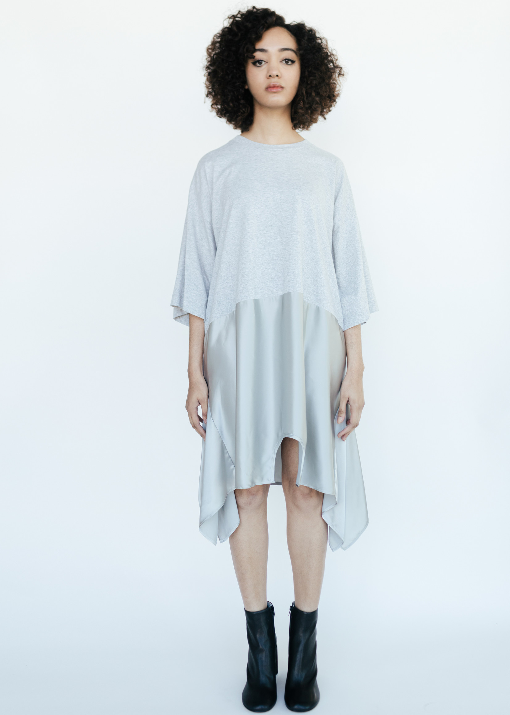 MM6 MAISON MARGIELA Oversized Mirror Image Dress in Grey