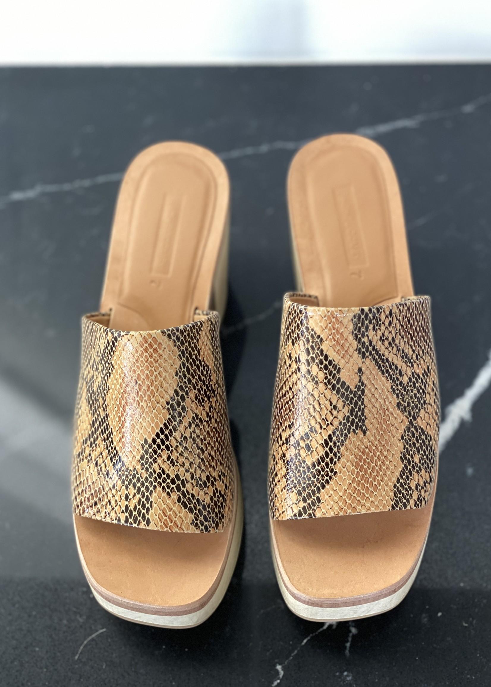 Rachel Comey Wood Clog Sandal in Bone Snake Print