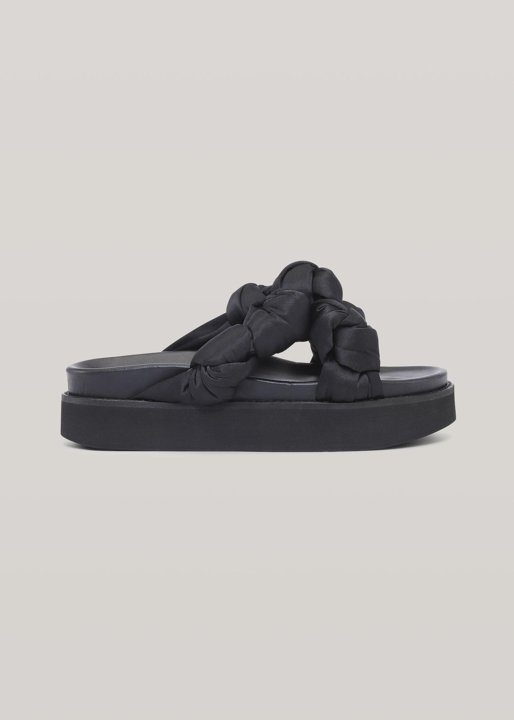 GANNI Knotted Platform Sandal in Black