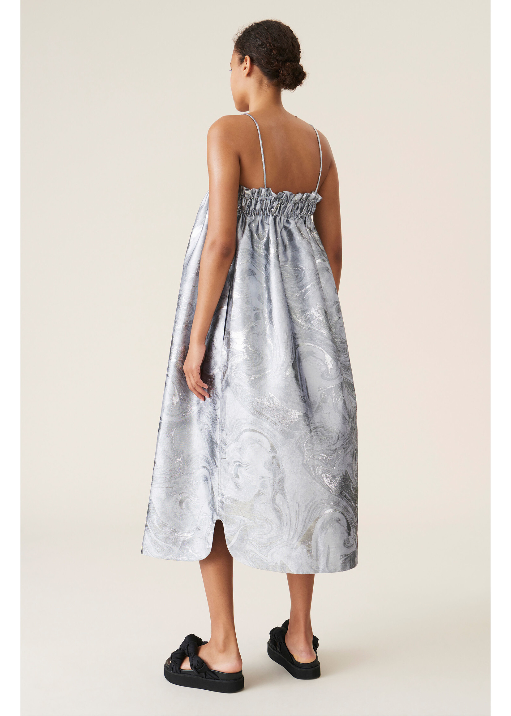GANNI SHINY JACQUARD STRAP DRESS
