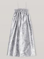 GANNI SHINY JACQUARD STRAP DRESS IN SILVER