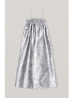 GANNI GANNI SHINY JACQUARD STRAP DRESS IN SILVER