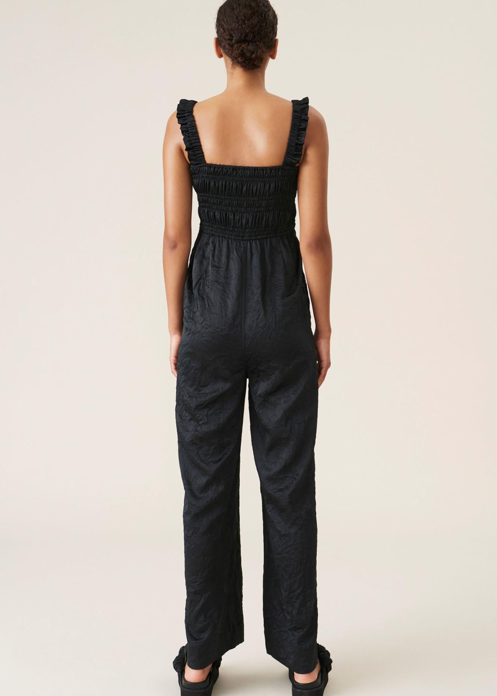 GANNI Crinkled Satin Jumpsuit in Black