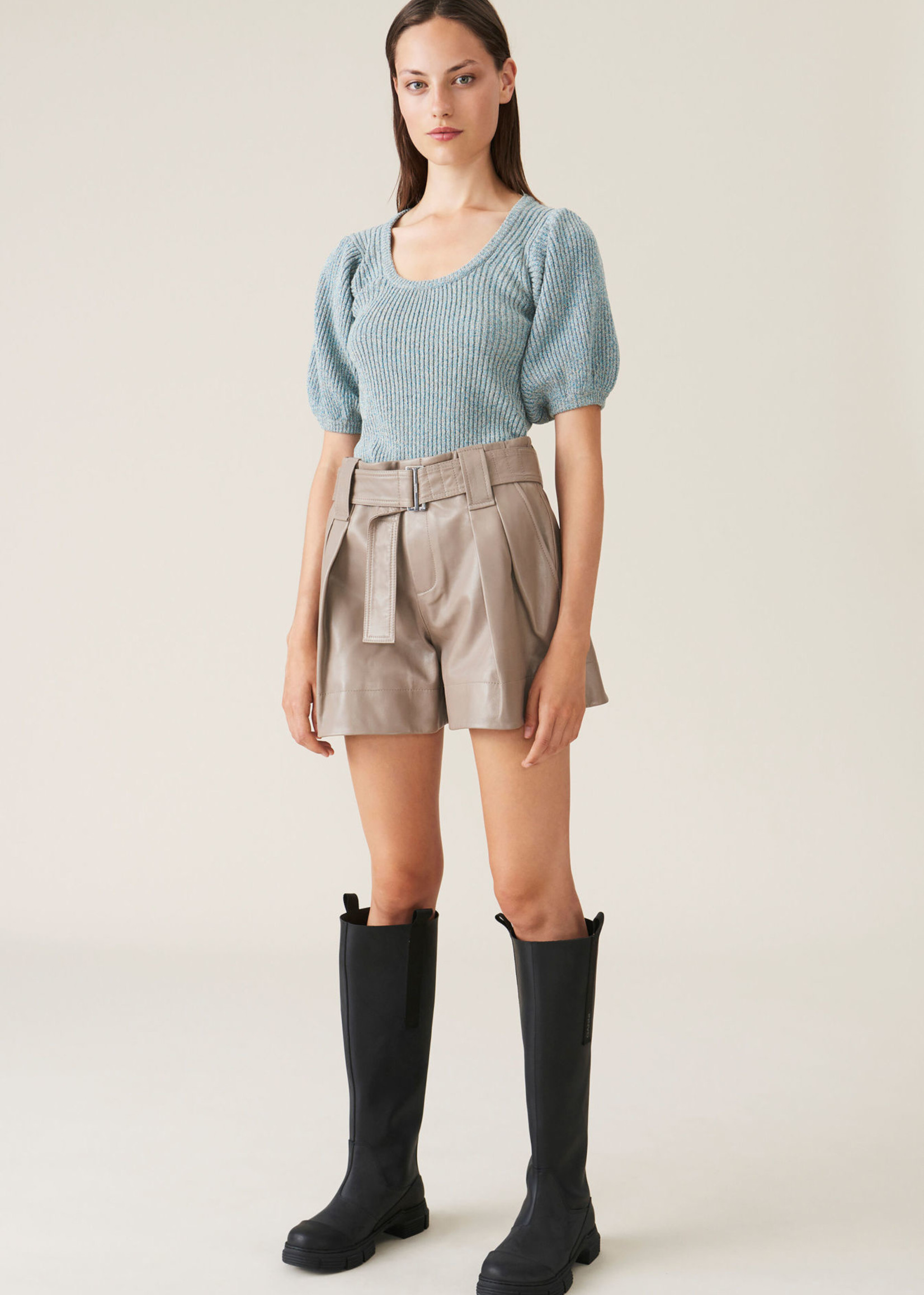 GANNI Belted Leather Shorts in Tan