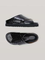 GANNI GANNI Croc Embossed Leather Cross Over Sandal