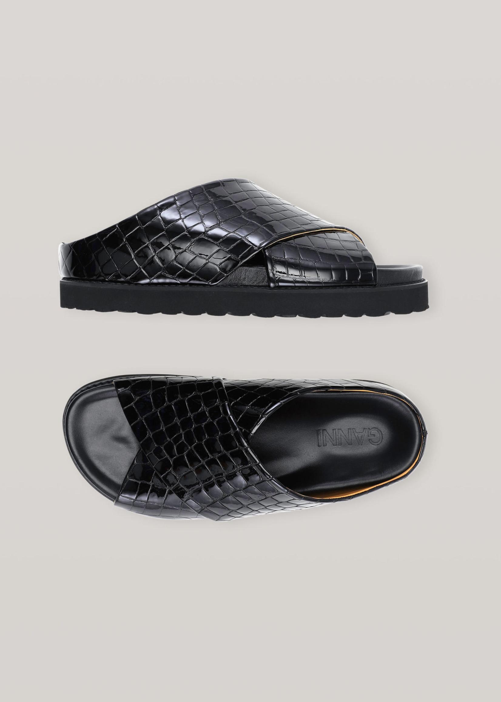GANNI Croc Embossed Leather Cross Over Sandal